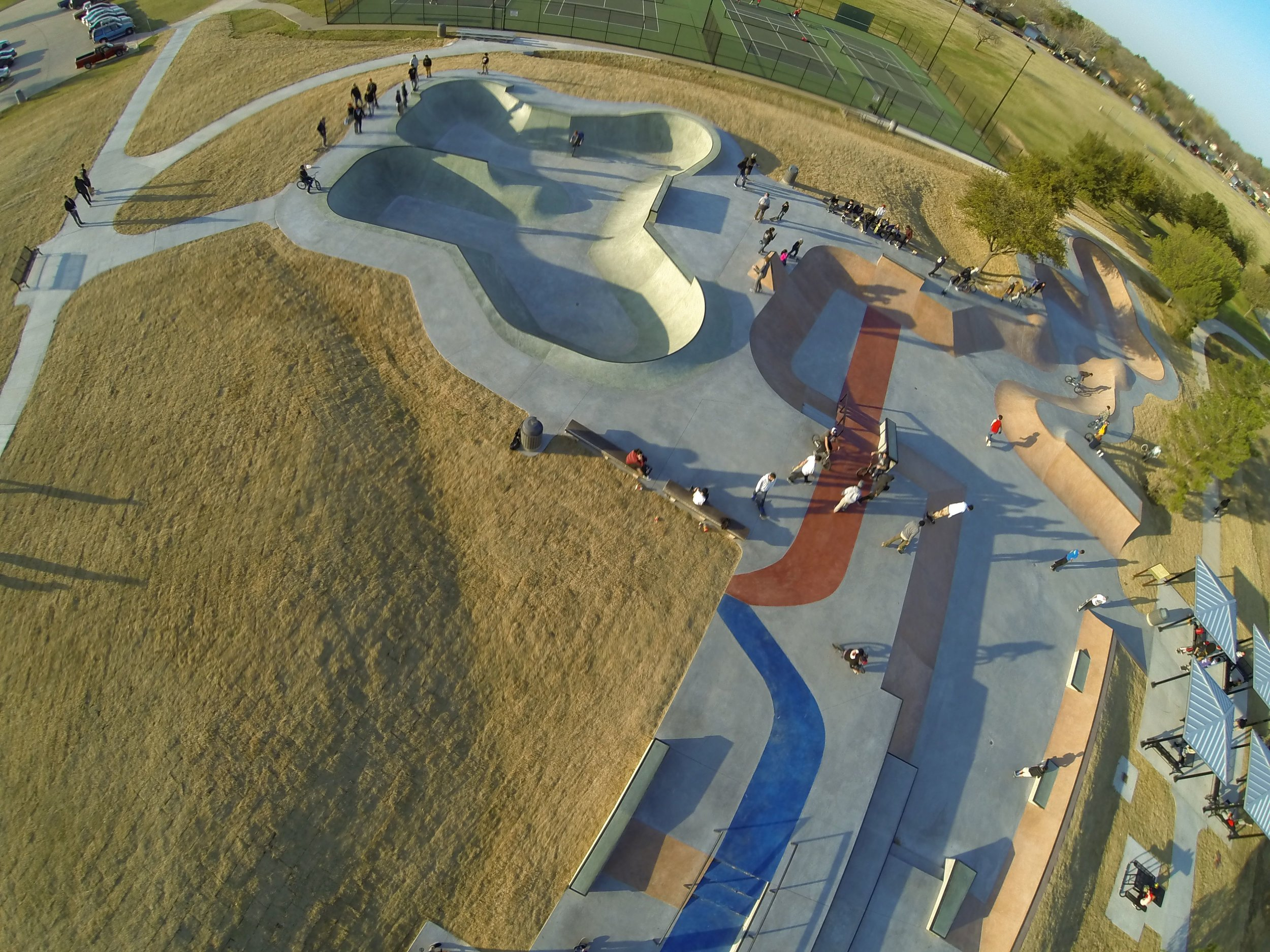 Arlington's Vandergriff Skatepark, photo by drone. This park is the largest and most centrally located of the multiple parks included in Arlington's 10 Year Skatepark Master Plan. This park is a regional magnet drawing skaters from around the metroplex.