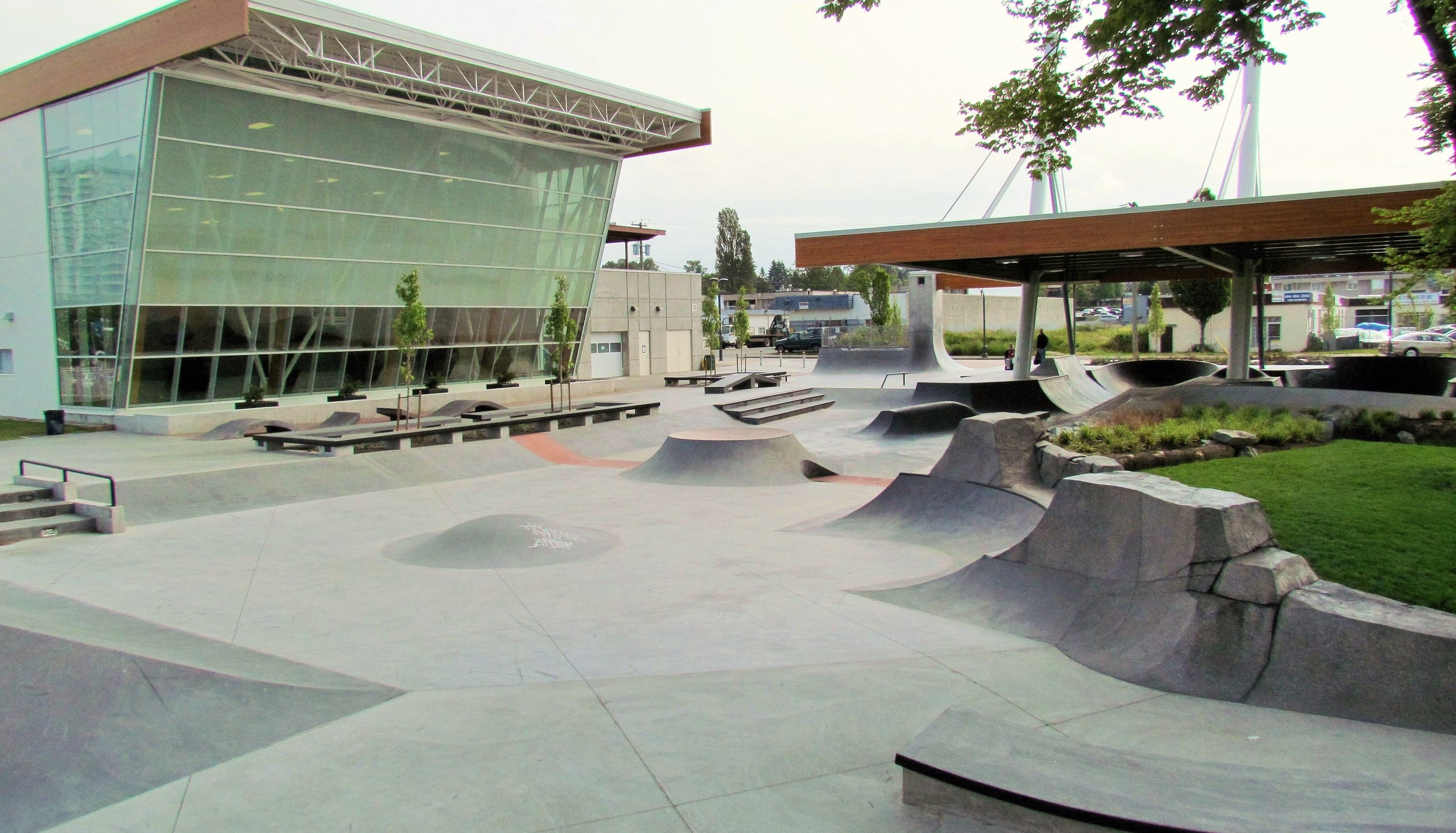 Vancouver's Surrey BC Skatepark is transit accessible, and adjacent to an existing recreation center. This center shares many attributes with Dallas' planned location at Bachman Lake, with existing DART transit access, trail access, as well as an existing recreation facility. Maybe we should take a trip to Vancouver and check it out!