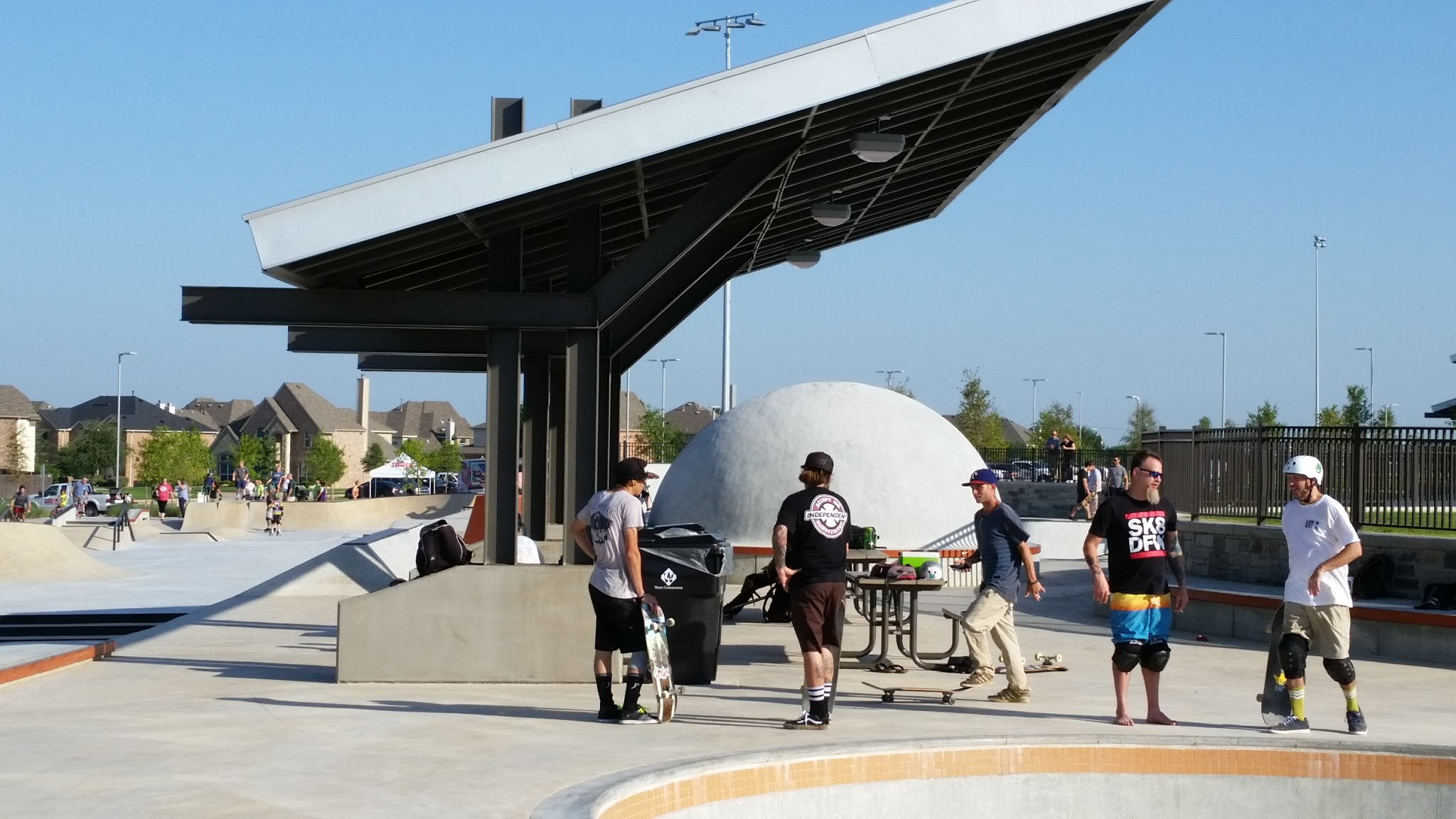 Frisco's skatepark includes shaded areas to gather and hang out with friends.