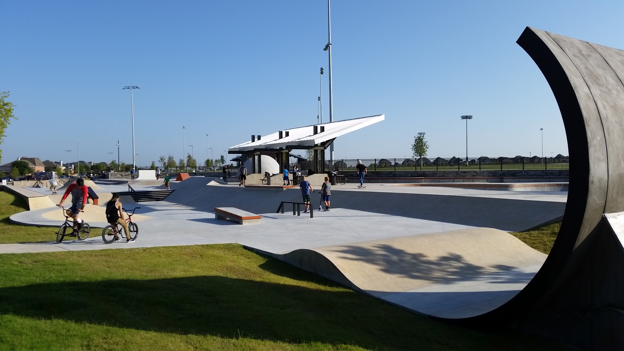 Frisco's 14 foot over-vertical 'concrete wave'. The park provides facilities for skateboard, BMX and scooters