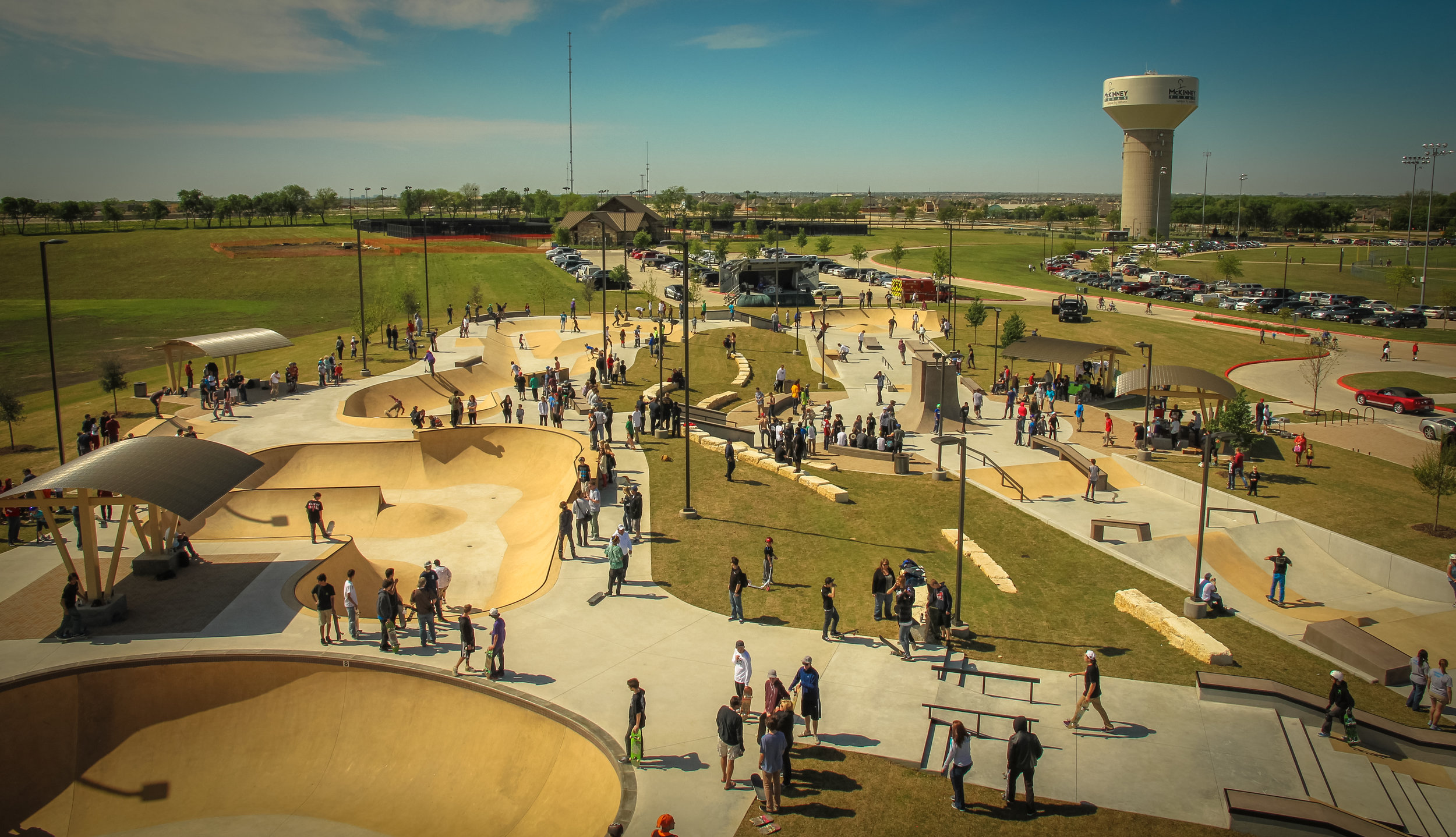 McKinney Skatepark overview shows the incorporation of safe spectator zones, shade elements and terrain features for various interests and skill levels included in a single facility.