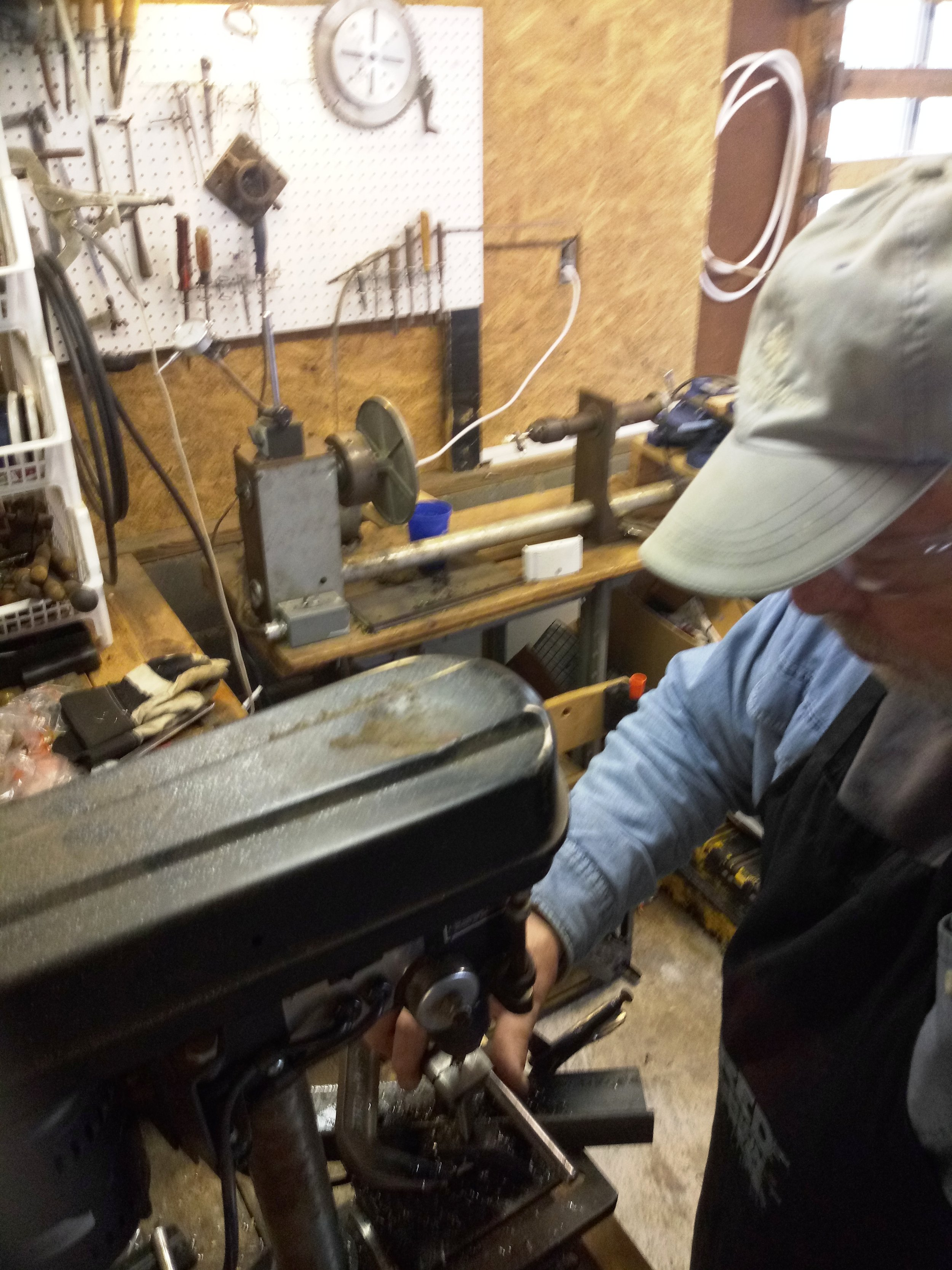 Working a tap on the drill press