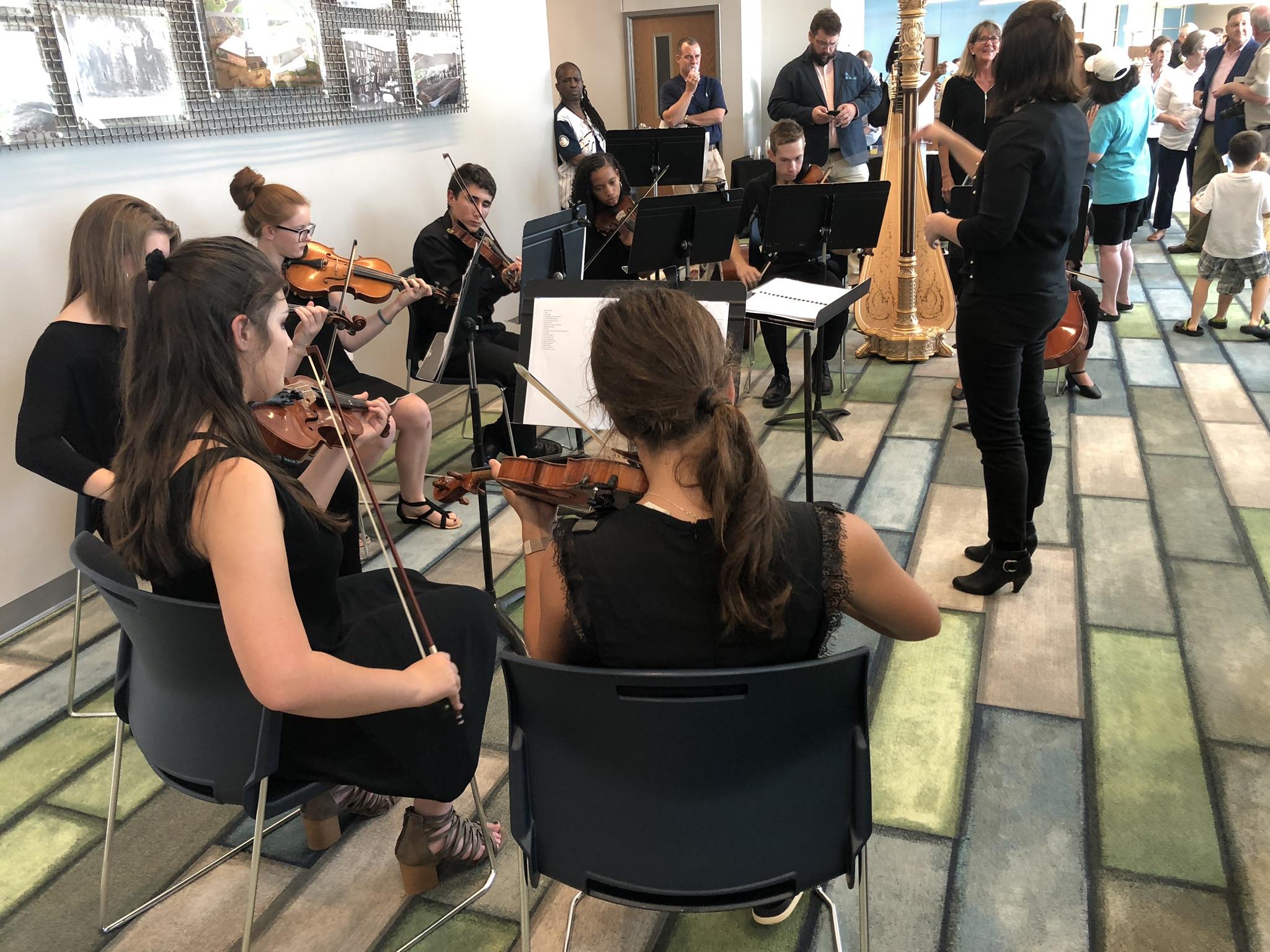 High school students serenade