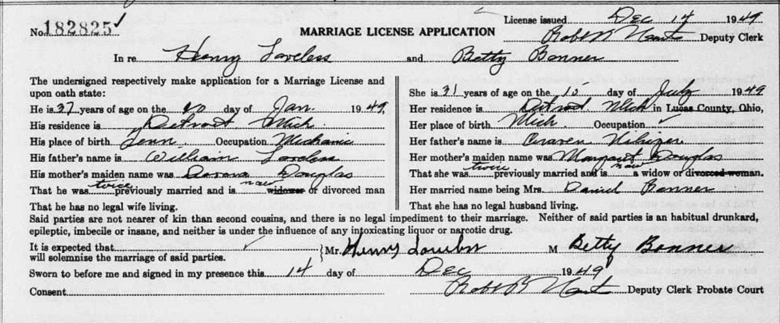 "Source: ""Ohio, County Marriages, 1789-2013,"" database,  FamilySearch  (http://www.familysearch.org : accessed 13 Feb 2019), 1941, Lucas County, page 253; citing ""Marriage Records, Ohio Marriages."""