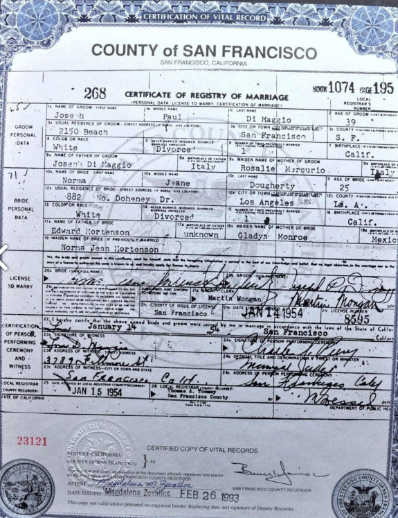 Joe Di Maggio and Marilyn Monroe's Marriage Certificate (including license information)