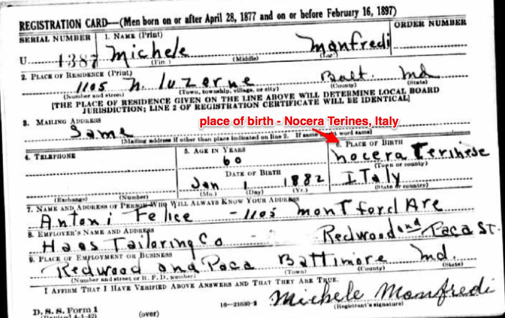 Michael Manfredi World War II Draft Registration Card, front