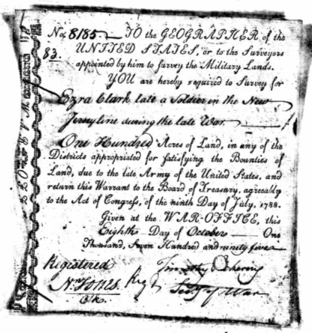 Revolutionary War bounty land warrant for Ezra Clark dated 8 Oct 1795