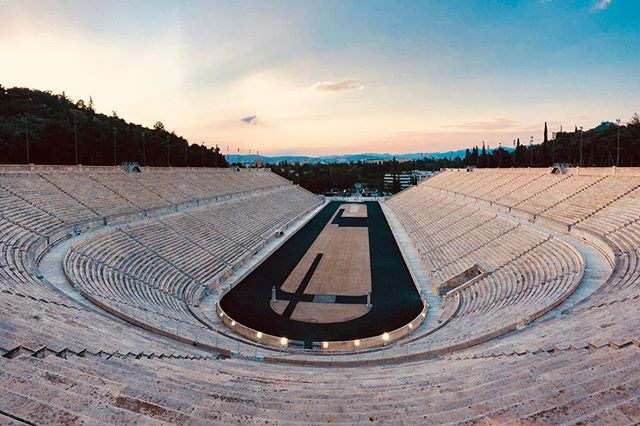 Panoramic sunset at the stadium! . . #Athens #Greece #Europe #sunset #spring #sky #stadium #architecture #olympics #sport #love #travel #dusk #colors #lifo #athensvoice #ig_photooftheday #ig_greece #in_athens #history #thisisathens