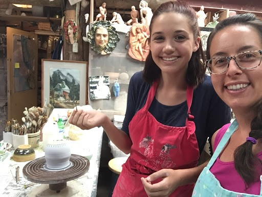 Charis and Kristin enjoying a pottery class generously donated by Amanda Sedgwick-Maule and  Quyle Kilns  in Murphys, CA.