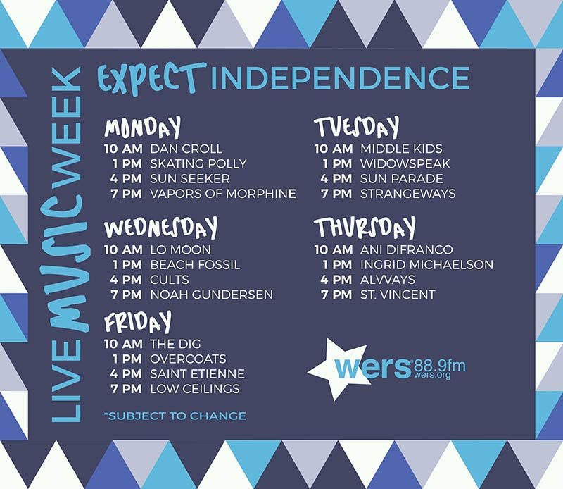 Live Music Week Schedule. WERS 88.9fm
