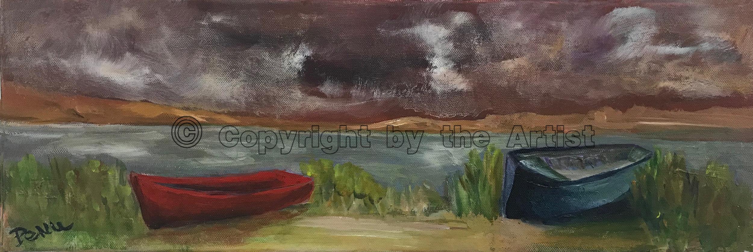 Barques dans la baie (rouge indien)