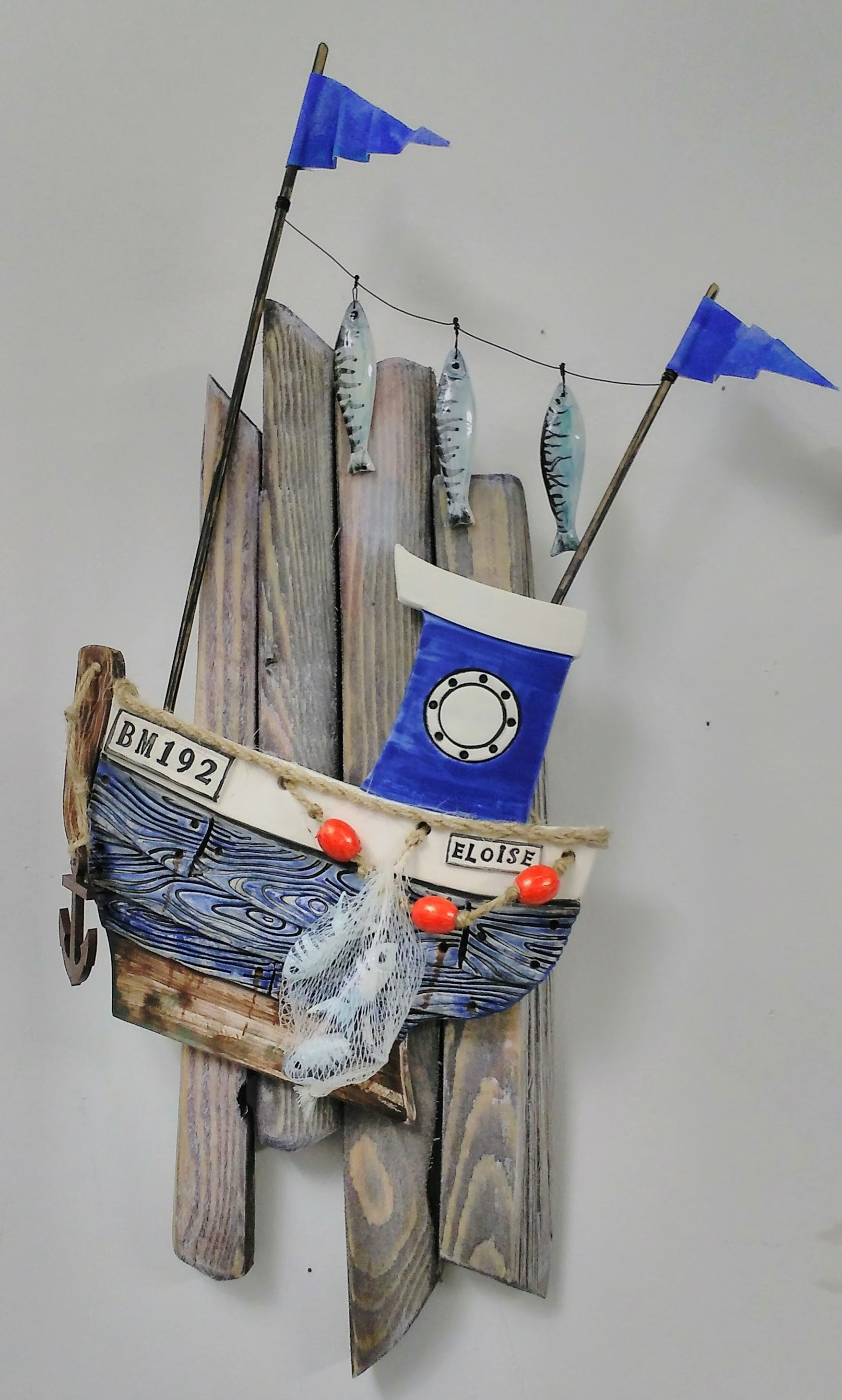Trawler on Driftwood Wall plaque by Gail Trezise Multimedia Art Show.jpg