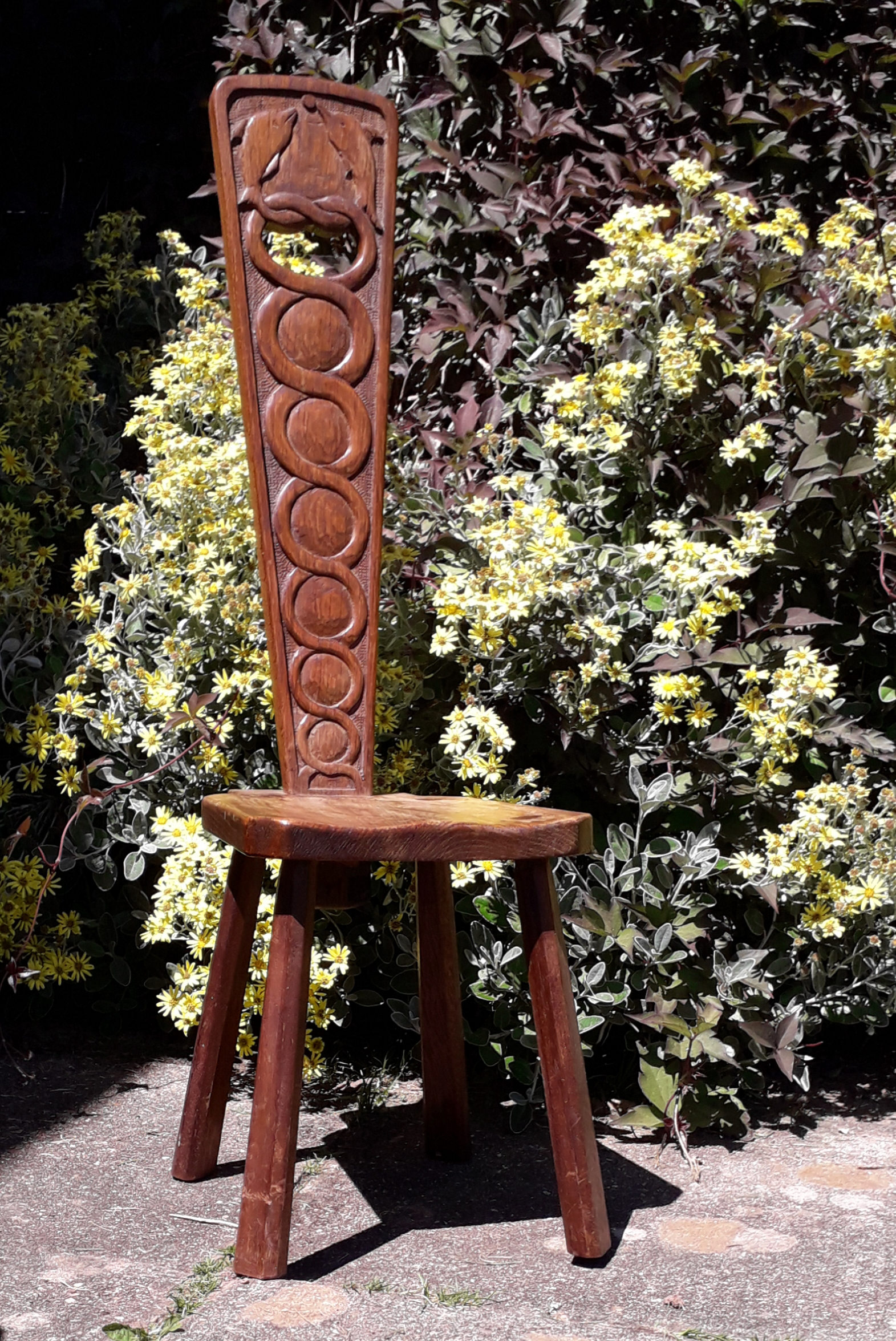 Eric Haynes - Welsh spinner's stool with dolphin carving.jpg