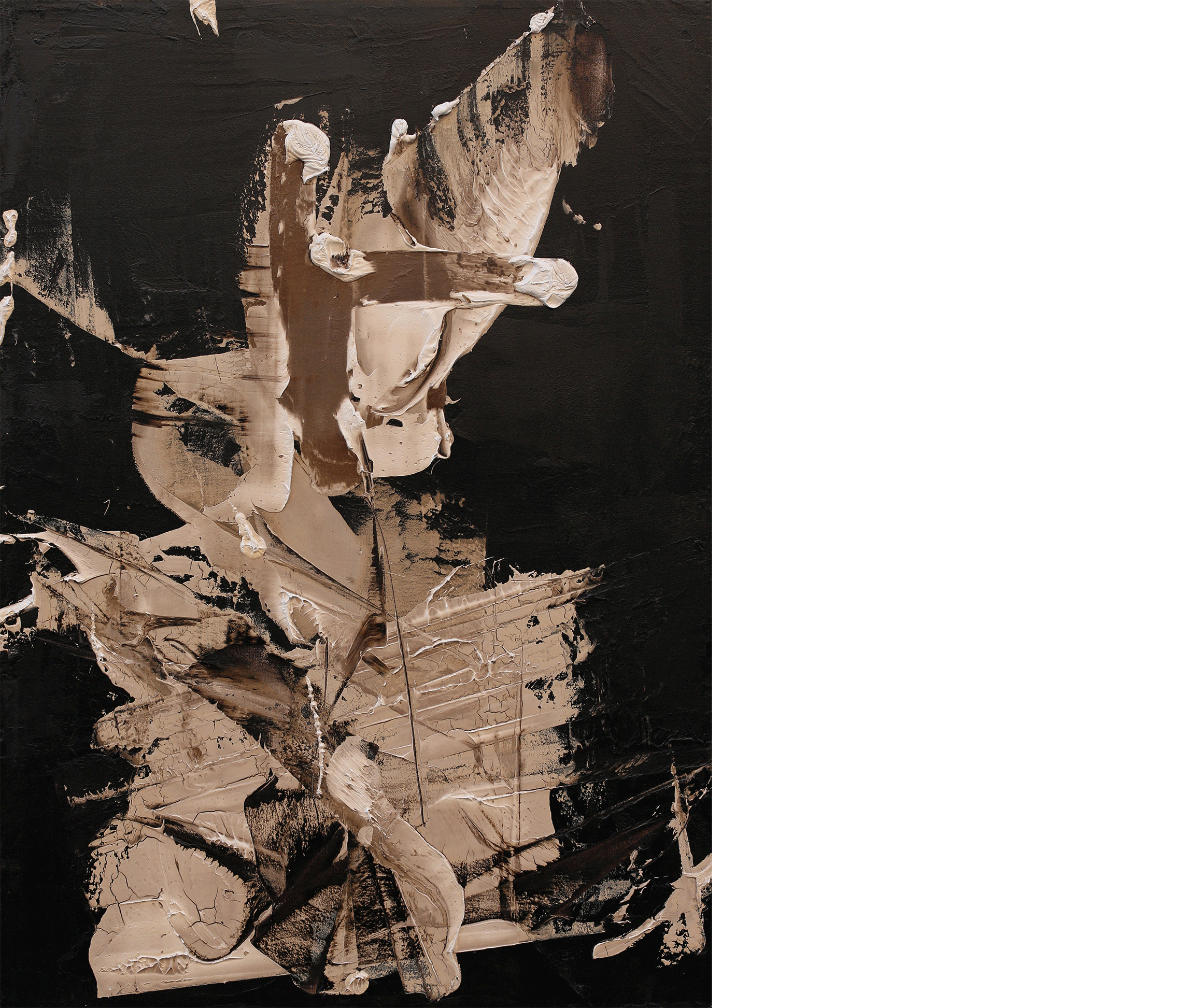 This Need Not Be , 2016  oil and tar on canvas  48 x 34 inches