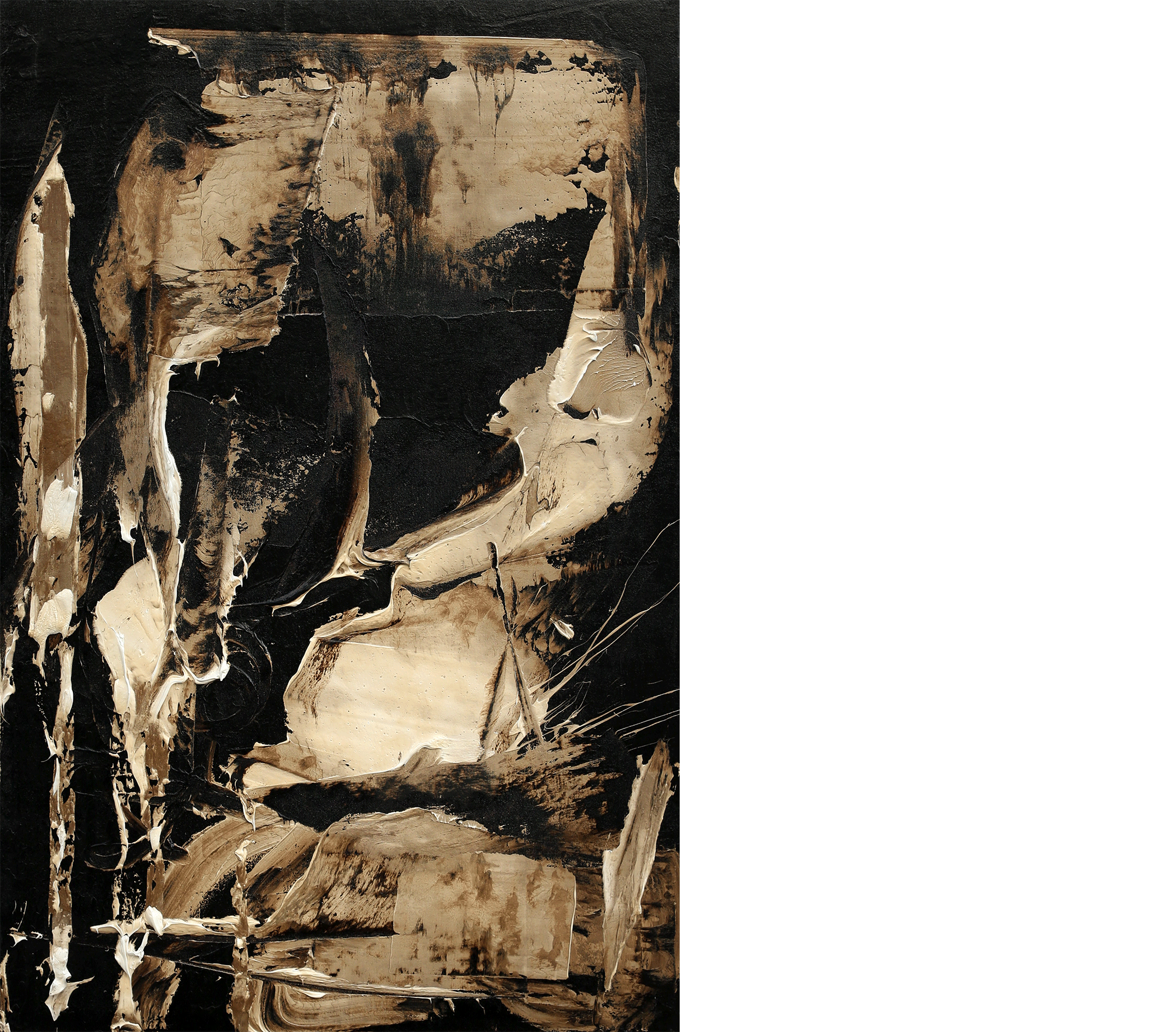 Body Illusion , 2016  oil and tar on canvas  47 x 31 inches