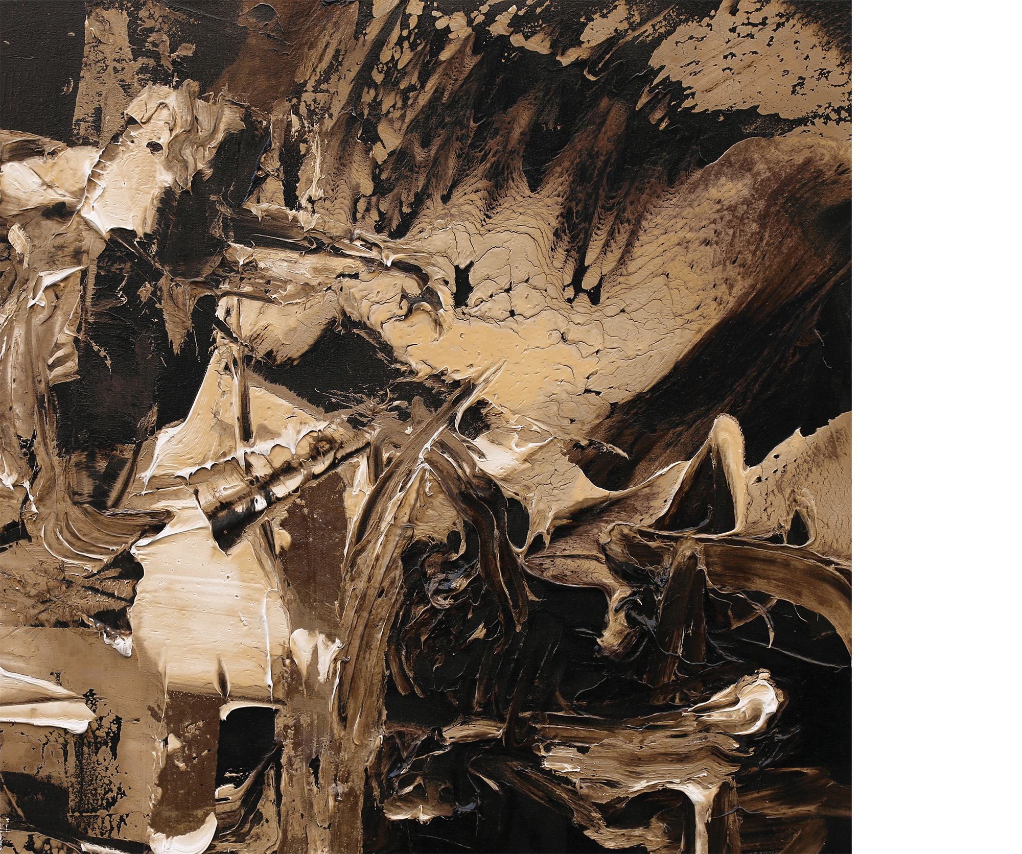 The Branching of the Road , 2014  oil and tar on canvas  42 x 42 inches