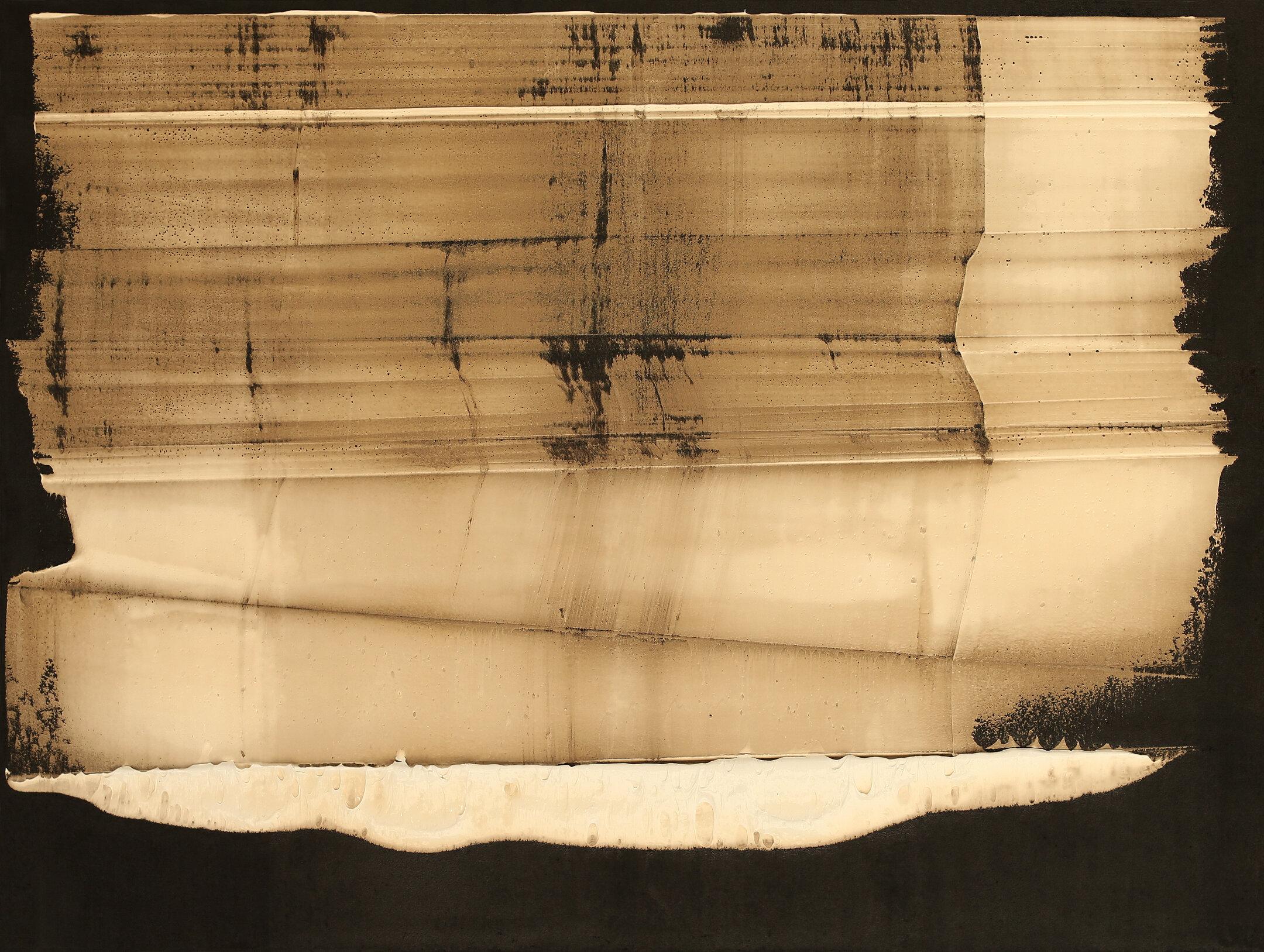 """Lesson 178, oil & tar on linen, 36""""x48"""", 2019"""