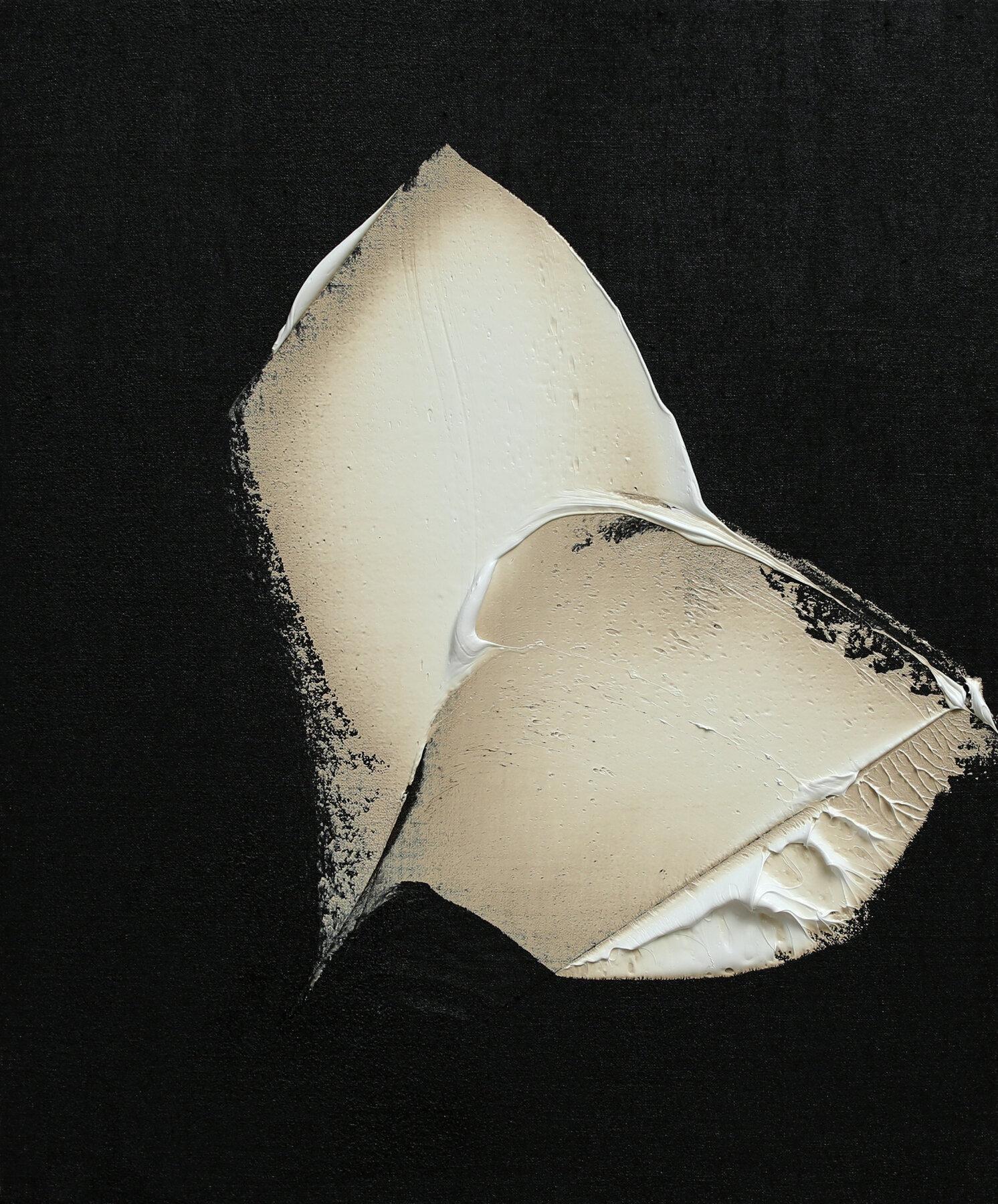 "Selfhood, oil & tar on linen, 24""x20"", 2018"