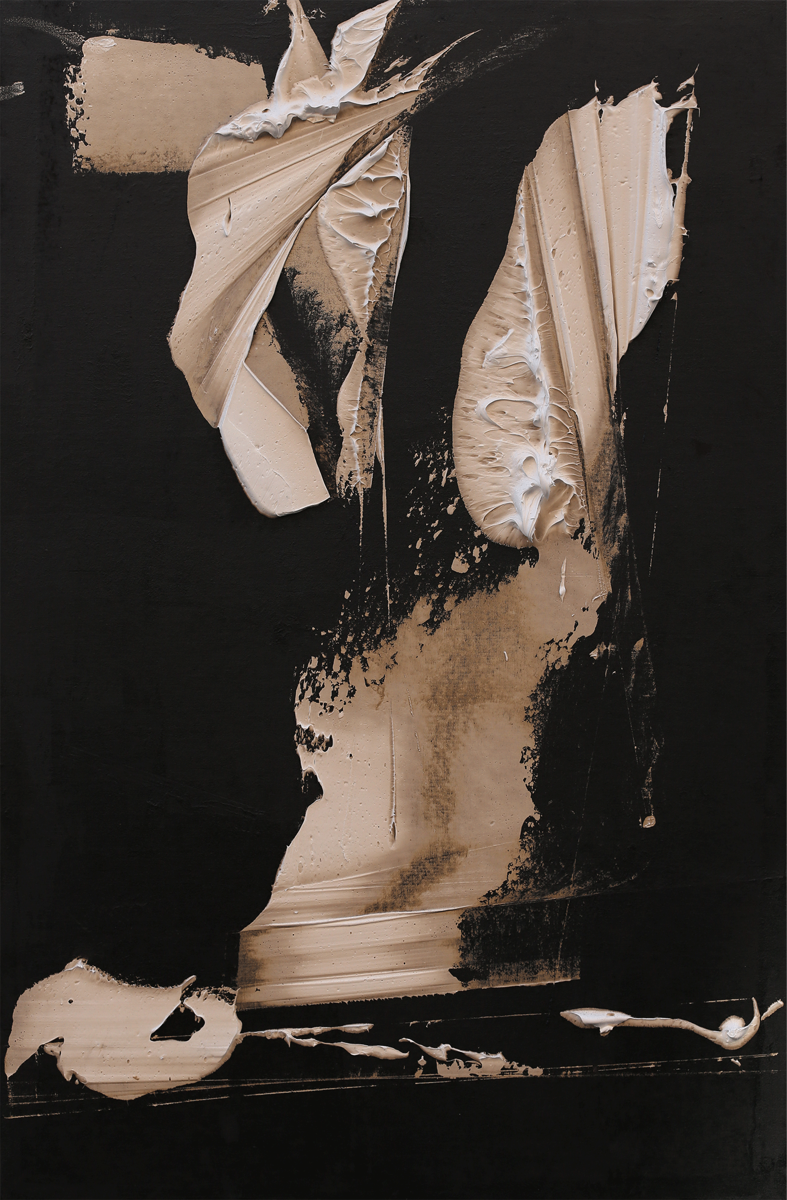 """Royal jester, oil and tar on canvas, 47""""x31"""", 2016"""