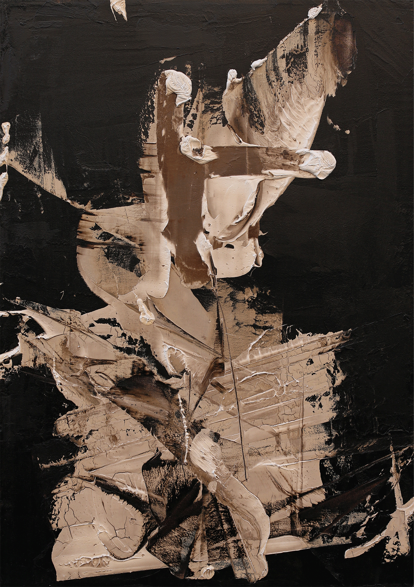 """This Need Not Be, oil and tar on canvas, 48""""x34"""", 2016"""