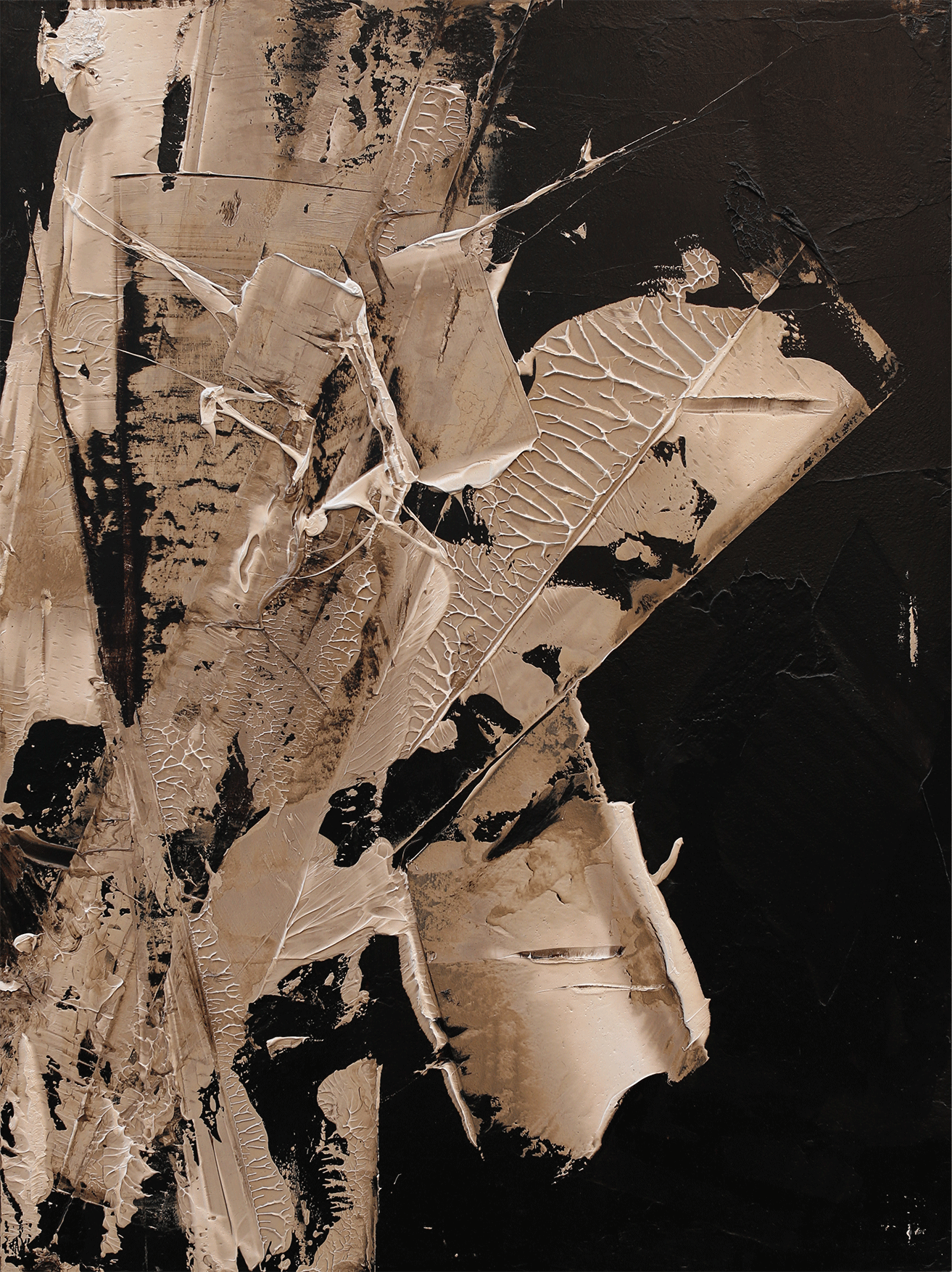 """The Quiet Answer(2), oil and tar on panel, 40""""x30"""", 2016"""