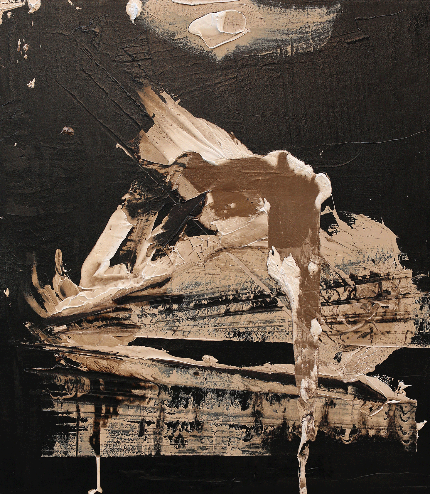 """The Gift of Lilies, oil and tar on canvas, 48""""x42"""", 2016"""