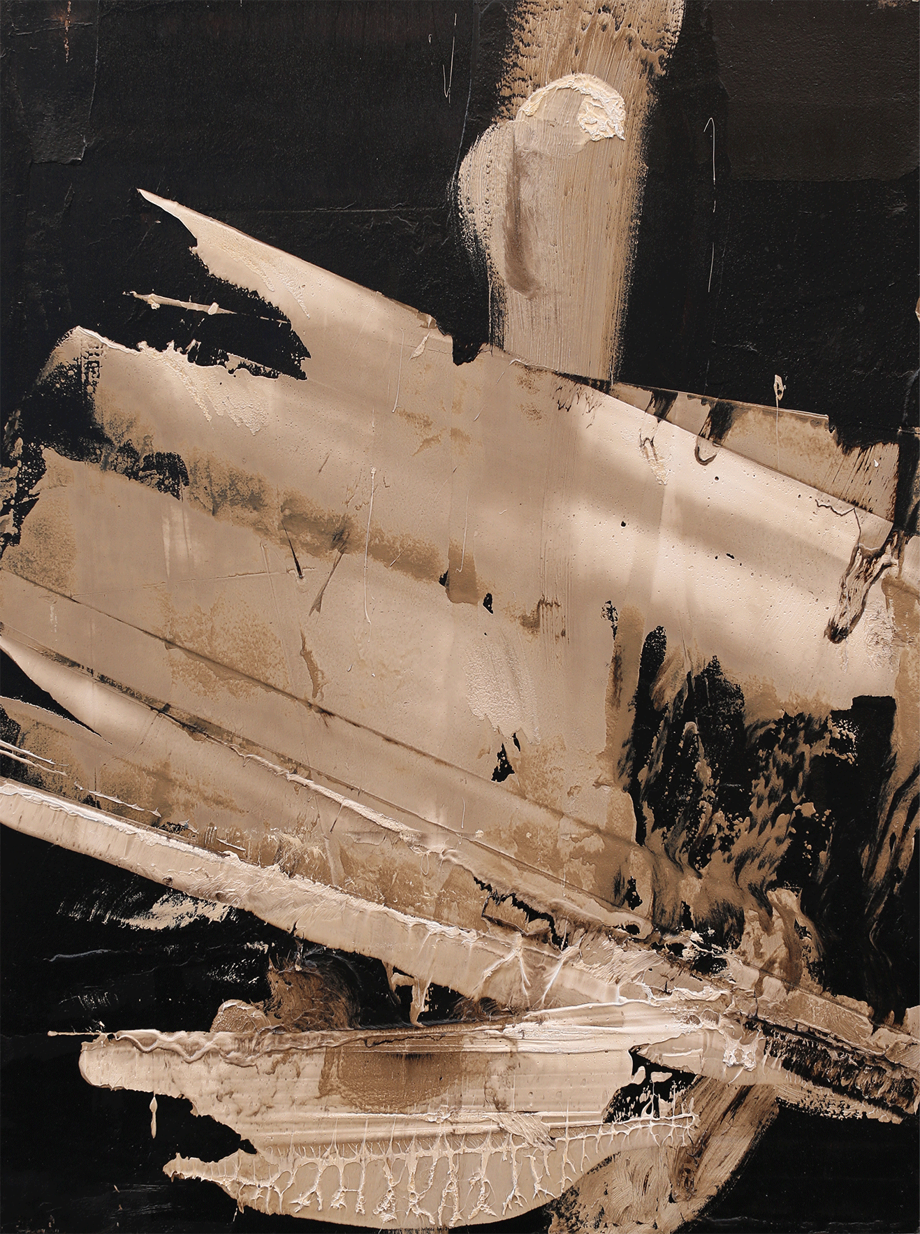 """The Quiet Answer, oil and tar on panel, 40""""x30"""", 2016"""