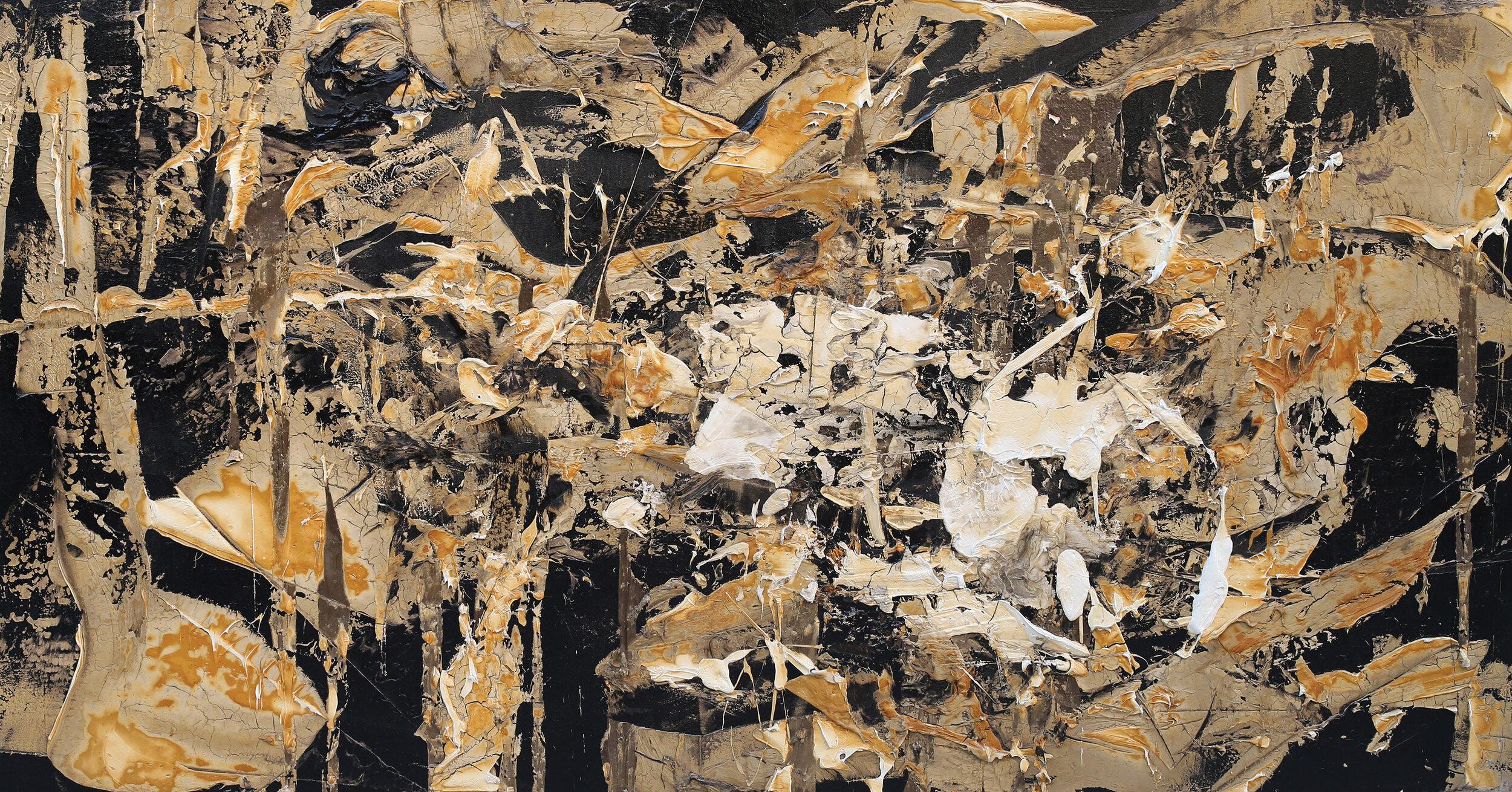 "The Innocent Perception, oil and tar on canvas, 55""x105"", 2013"