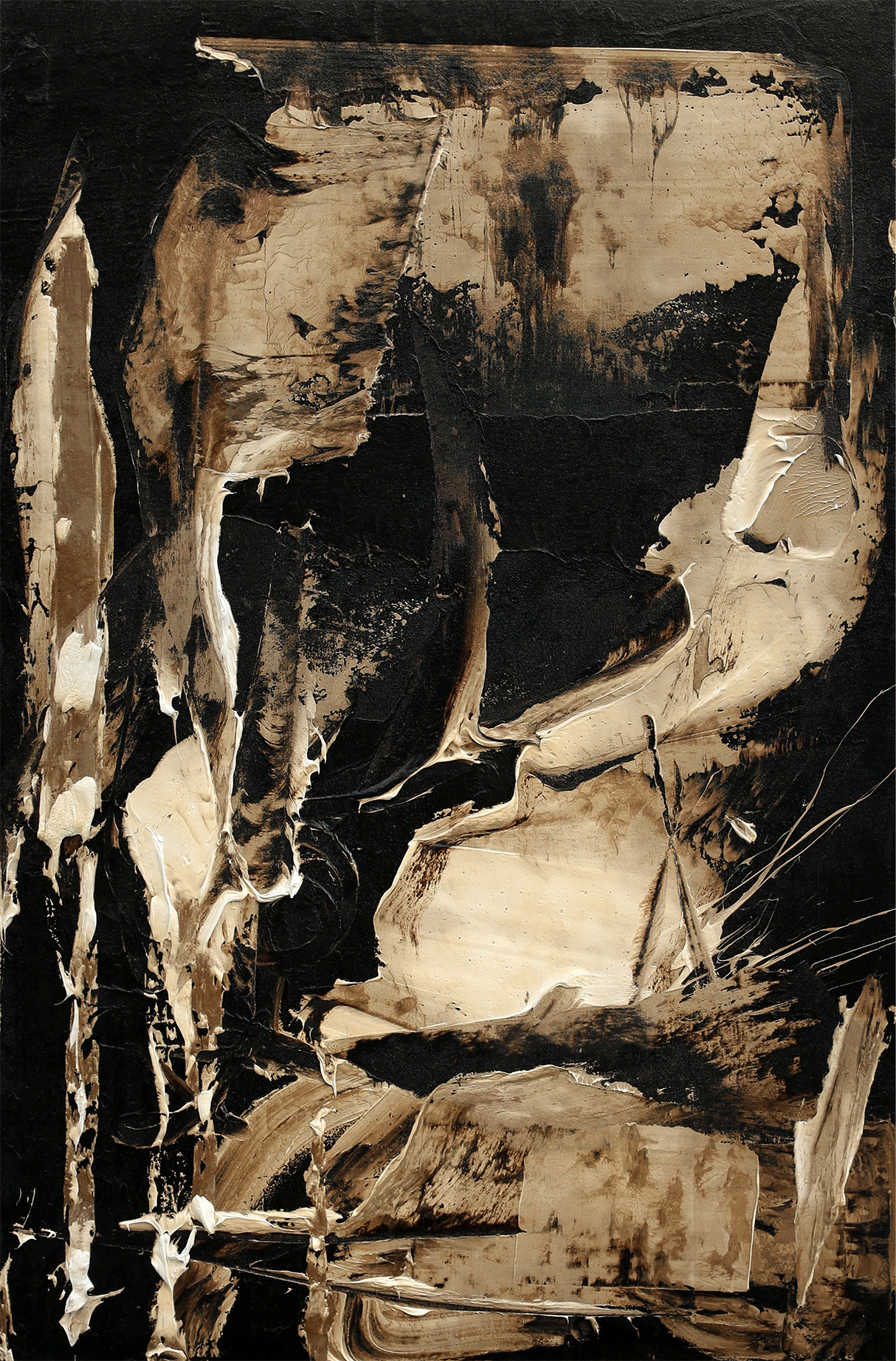 """Body Illusion, oil and tar on canvas, 47""""x31"""", 2016"""