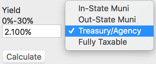 Enter the bond's yield. Select the matching bond type. Press calculate! -