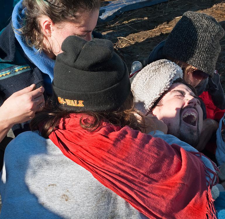 Maced protestor, Dakota Access Pipeline protests, Nov. 2, 2016, North Dakota.