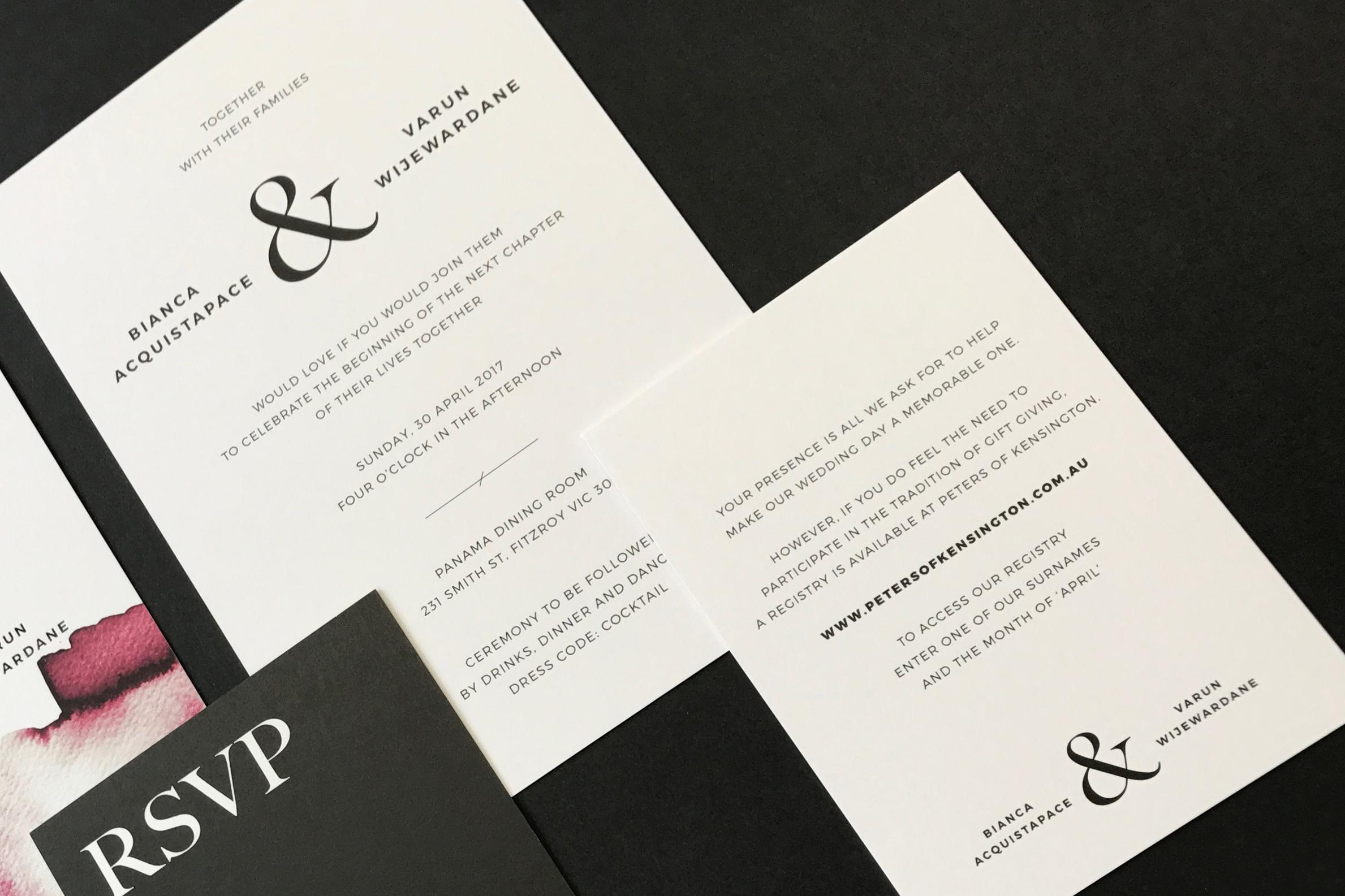 B+V Wedding Invite Detail