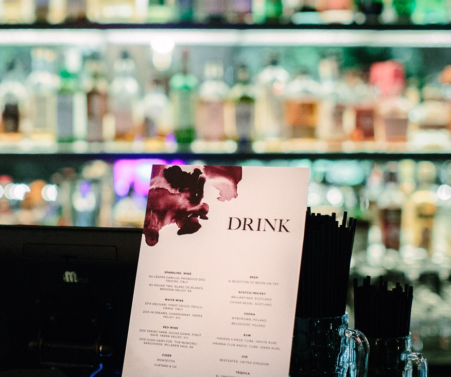 B+V Wedding drinks list