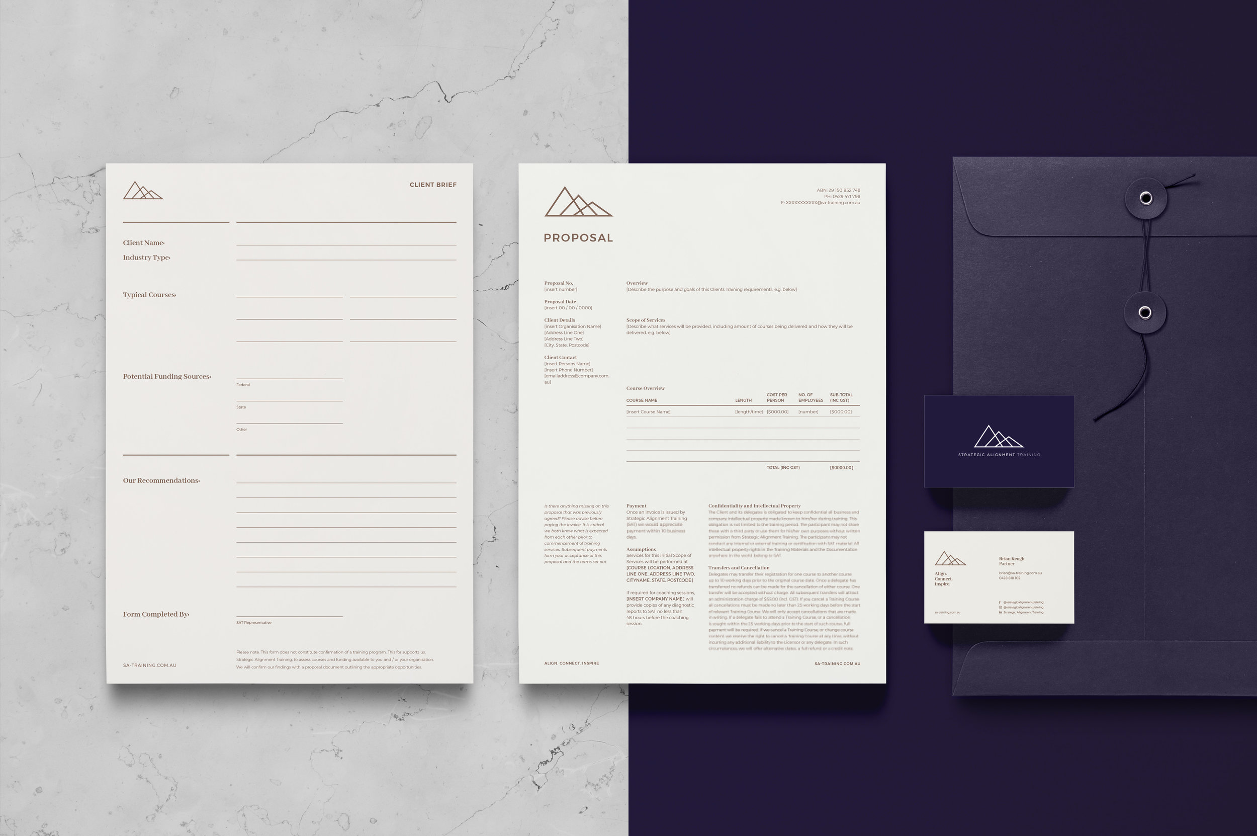 SAT Branded Identity Stationery Collateral
