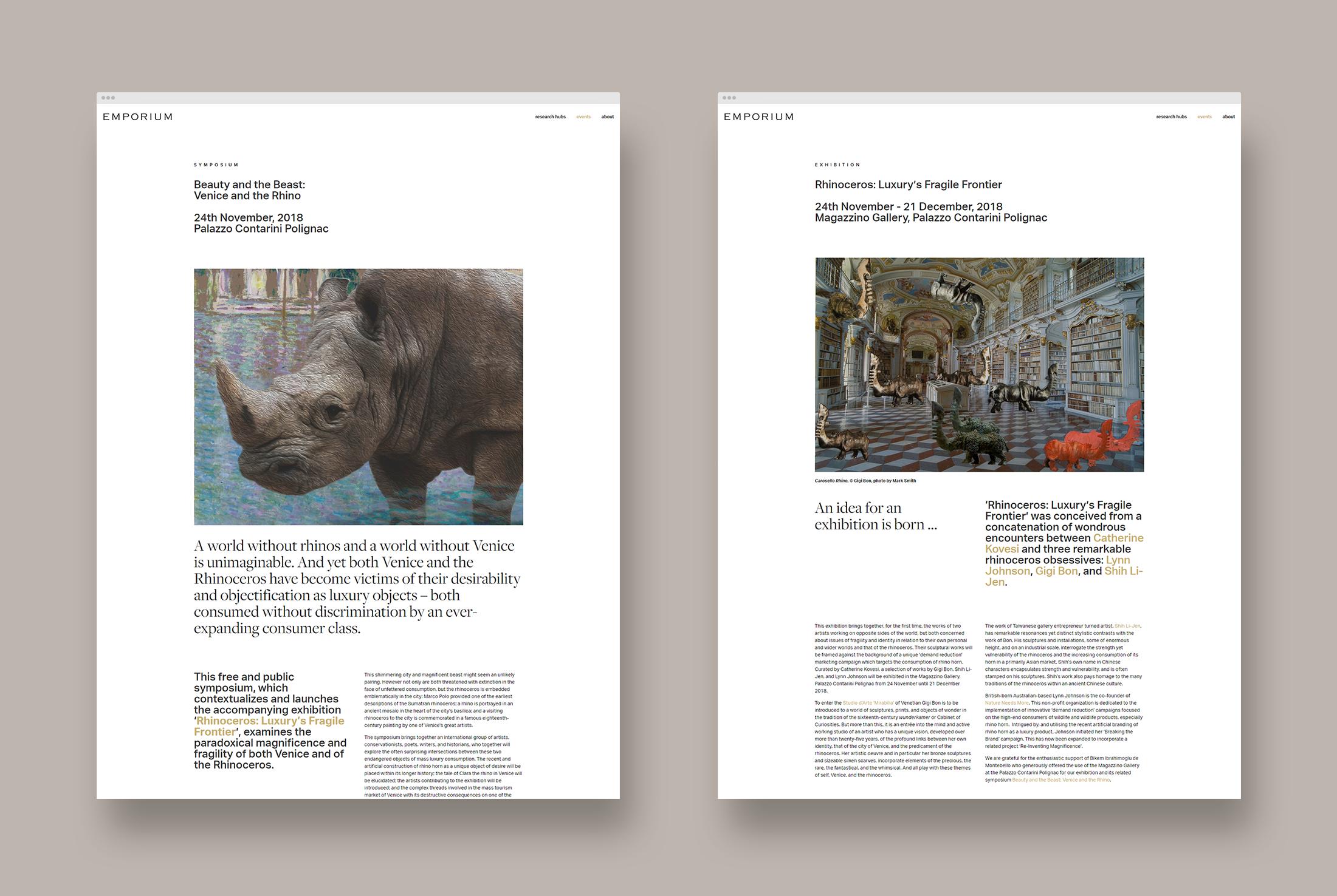 website design for Rhinoceros: Luxury's Fragile Frontier