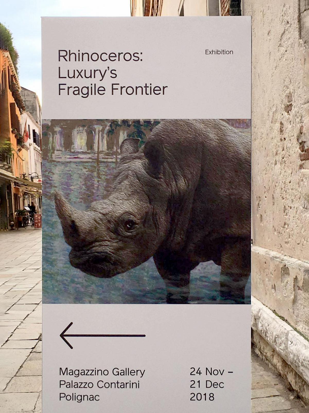 Rhinoceros - Luxury's Fragile Frontier Totem wayfinding, Venice