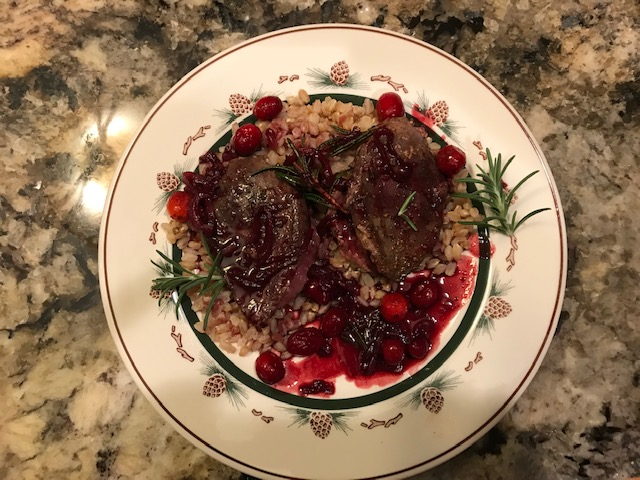 The finished product. The wine, huckleberry jam, and cranberries combine to give this dish a great balance of sweet and savory to compliment the flavor of the dark breast meat.