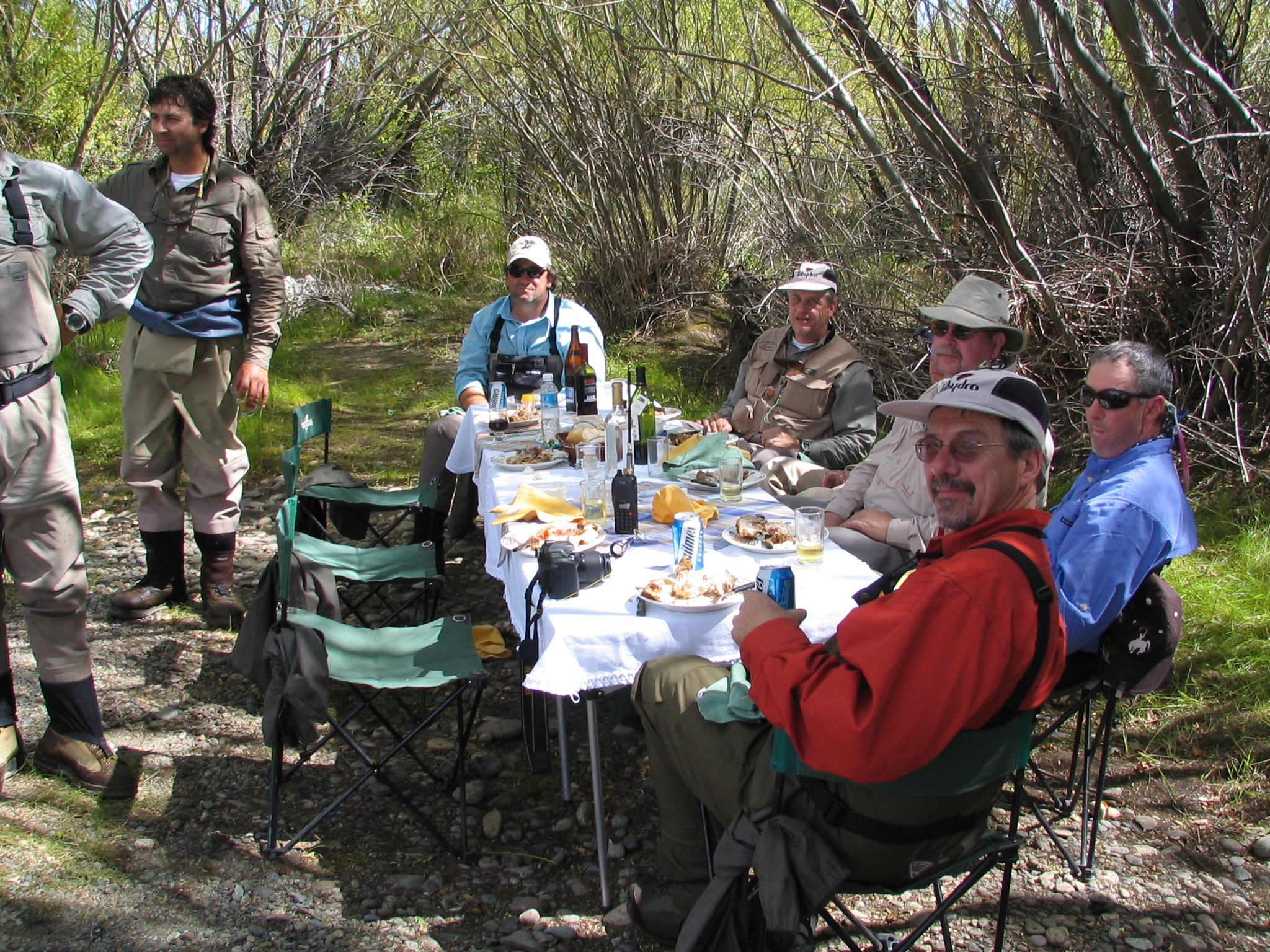 Even the mid-day meals on the river are special. Tables and chairs, real plates and silverware, and multiple courses washed down with local beers and wine are standard fair. Perhaps a short siesta and then it's time to fish again!