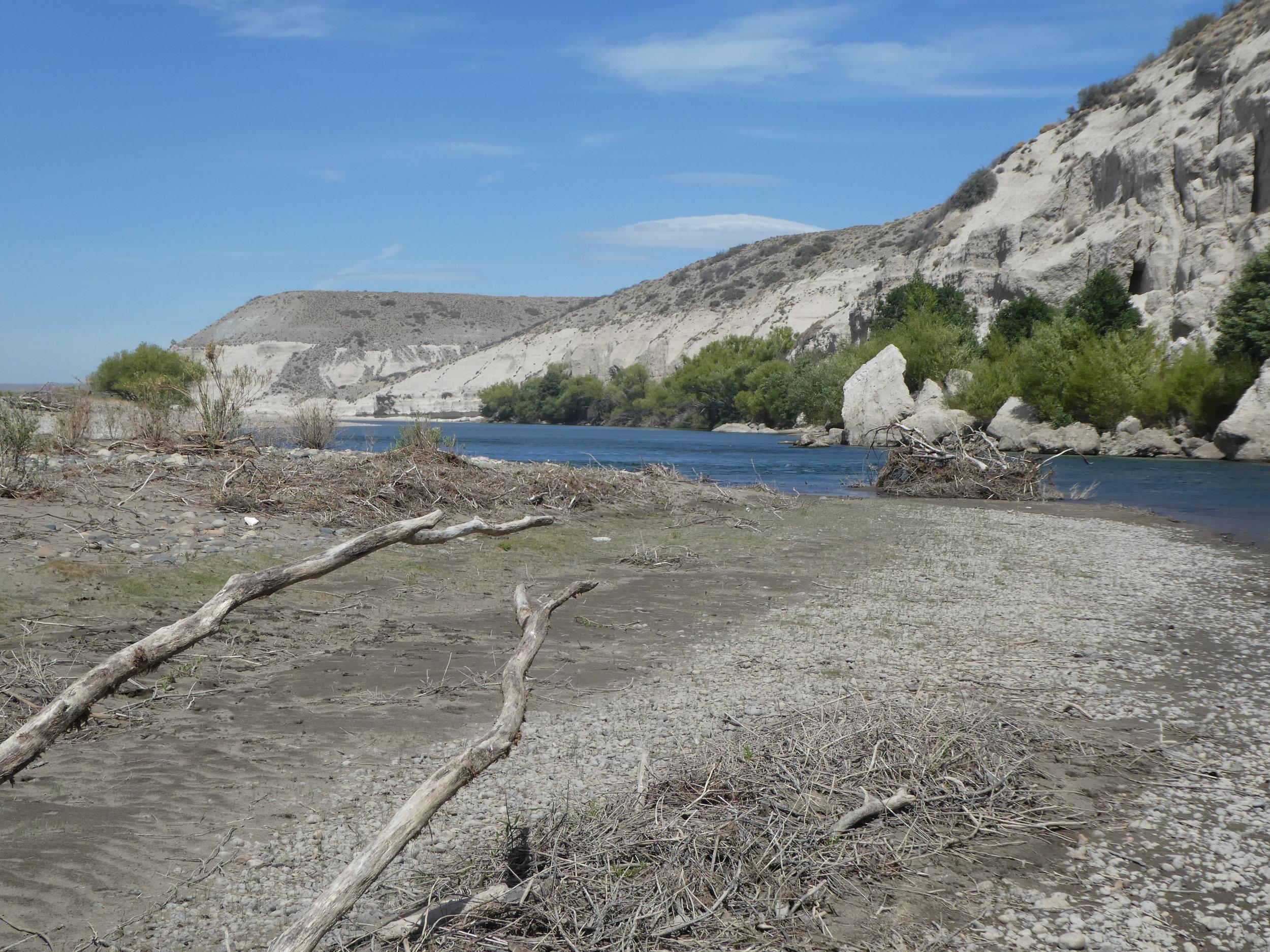 White cliffs along the Rio Collon Cura