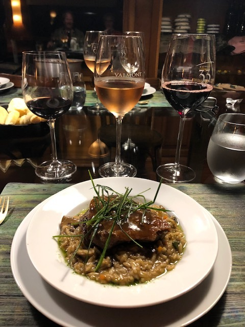 Braised beef cheek over risotto prepared by chef Lucas aboard the mother-ship Gipsy. And yes there was wine!
