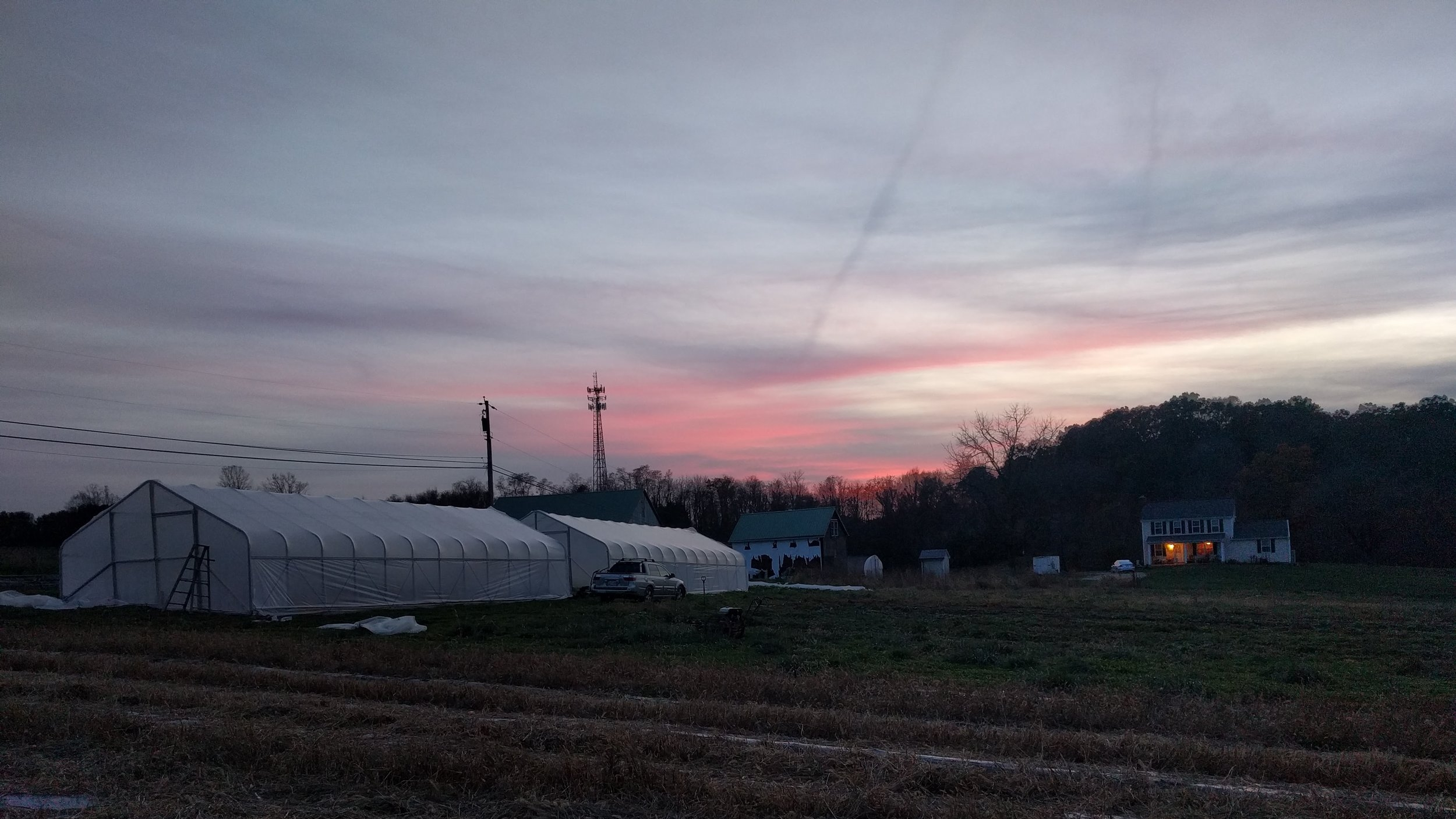 The farm at sunset, an increasing early sight.