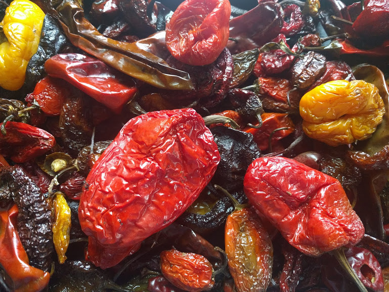 """We've also added a """"mole"""" mix of 6 Mexican chile peppers to make a mole sauce or to roast for a homemade chili paste."""
