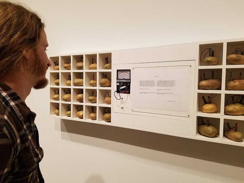 Me at the Harvard Fogg Museum enjoying some modern potato art and confirming that fresh potatoes are indeed  powerful .