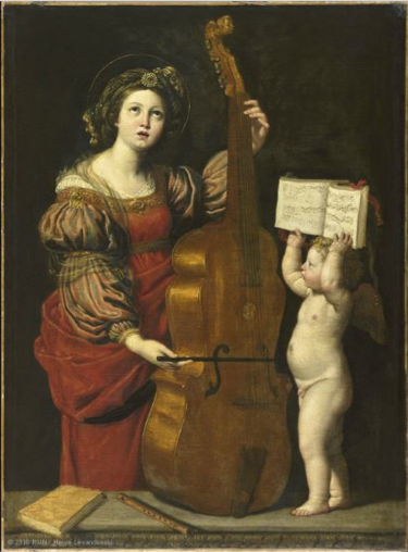 Domenichino's Saint Cecilia with an Angel Holding a Musical Score..  This painting is displayed at the Musée du Louvre; the image was sourced from the  Louvre website .