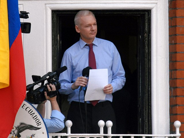 'Julian Assange in Ecuadorian Embassy'. Photo by Snapperjack (UK), 2012. Licensed under the    Creative Commons       Attribution-Share Alike 2.0 Generic    license. File source:    Wikimedia Commons