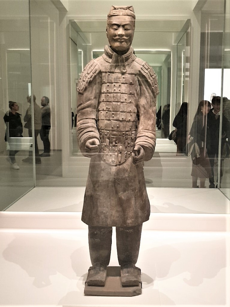 Armoured military officer Qin dynasty 221-207 BCE earthenware. Photograph by Rasheeda Wilson, used with permission.