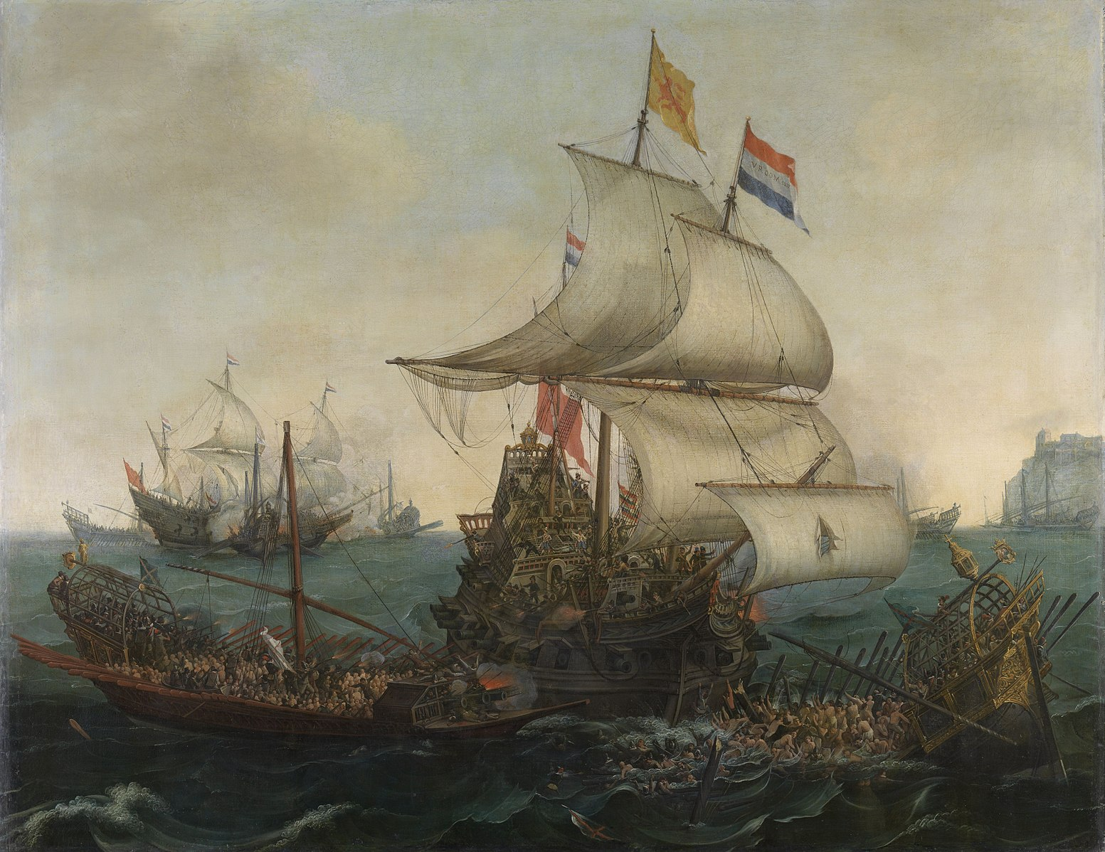 Hendrick Cornelisz Vroom ' s    Dutch ships ramming Spanish galleys off the English coast, 3 October 1602 , painted in 1617 and shown at the Rijksmuseum. This image was sourced from  Wikipedia Commons .
