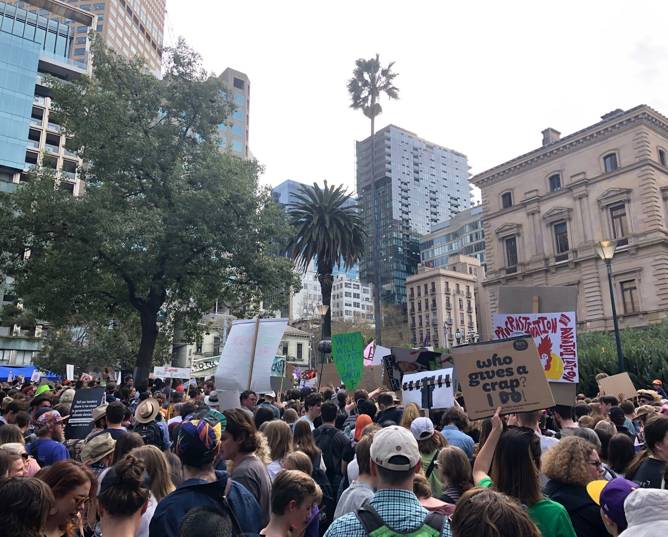 A view of the School Strike 4 Climate rally from the Treasury Gardens. Photograph by Coral Huckstep