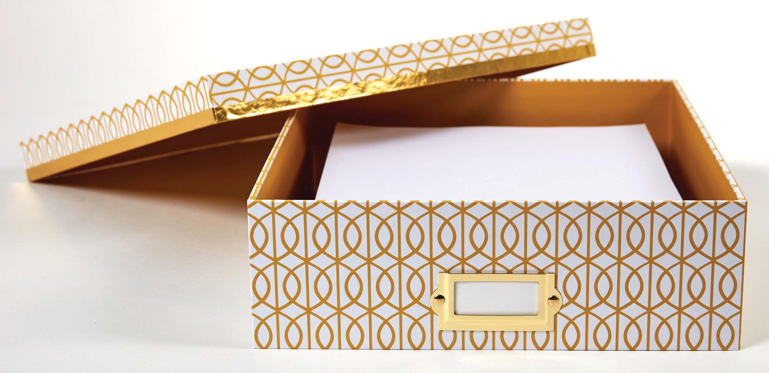 DS desktop storage box yellow gate pattern paper open.jpg