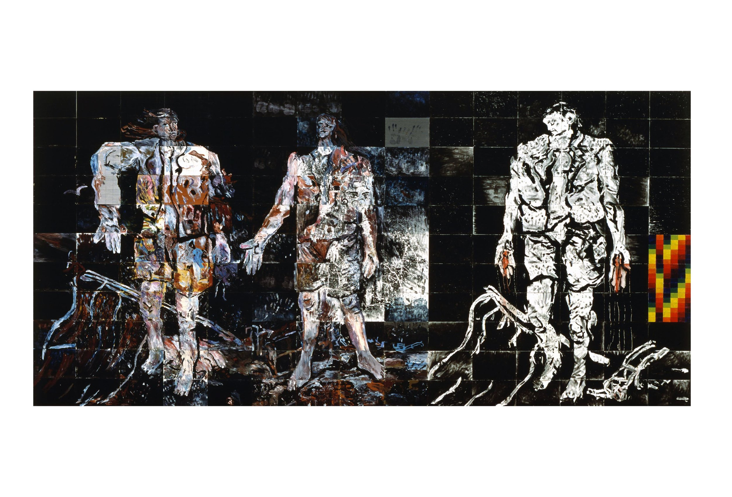 Imants Tillers   The World of Men , 1984  synthetic polymer paint, oilstick, oil on 165 canvasboards, nos. 3390 - 3554 275 x 570 cm Collection: Queensland Art Gallery, Brisbane